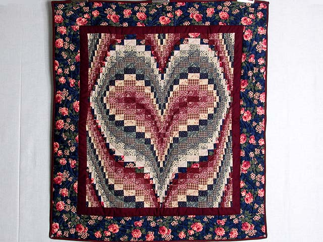 Navy and Burgundy Bargello Heart Wall Hanging Photo 1