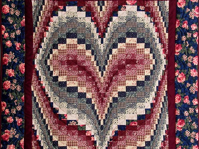Navy and Burgundy Bargello Heart Wall Hanging Photo 2