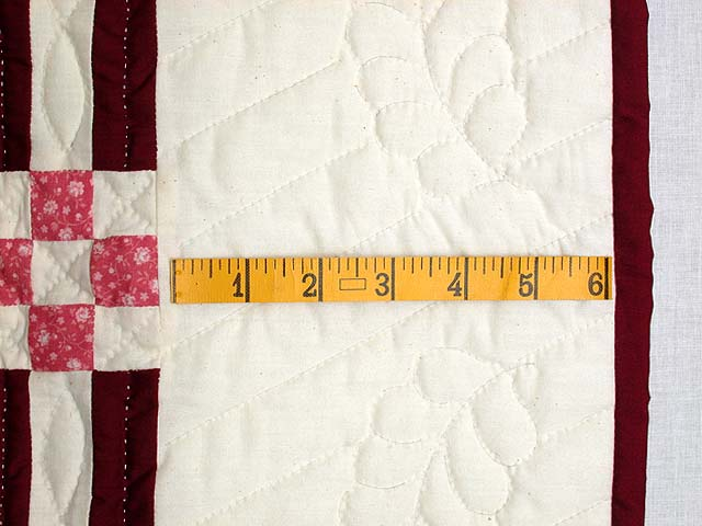 Burgundy Feathered Edge Star Crib Quilt Photo 5