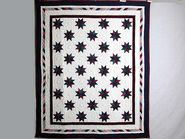 Navy and Multicolor Eight Point Stars Throw Photo 1