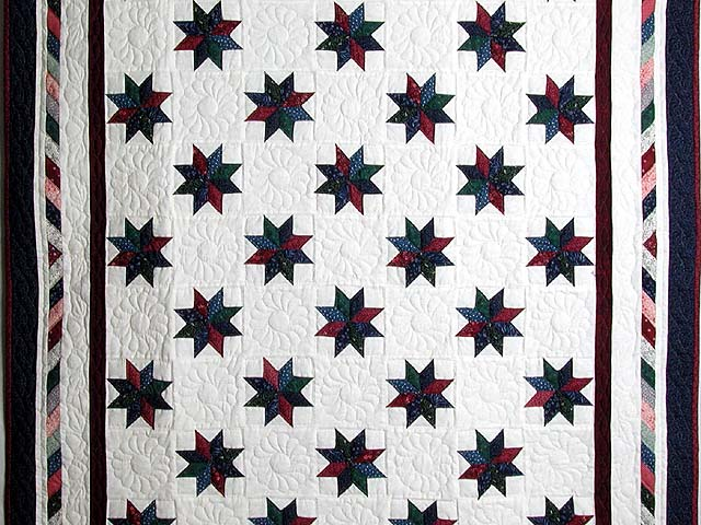 Navy and Multicolor Eight Point Stars Throw Photo 2