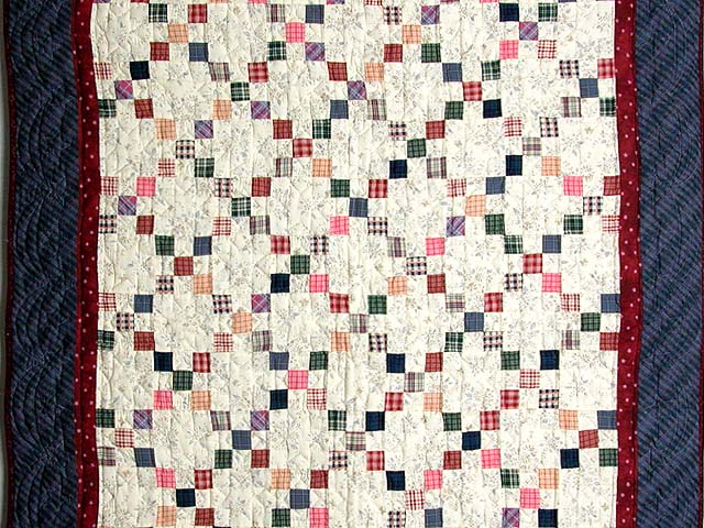 Plaid Multicolor Nine Patch Crib Quilt Photo 2