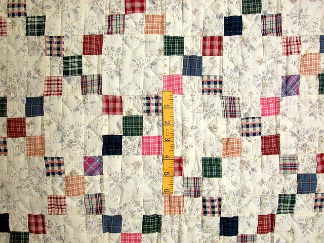 Plaid Multicolor Nine Patch Crib Quilt Photo 3