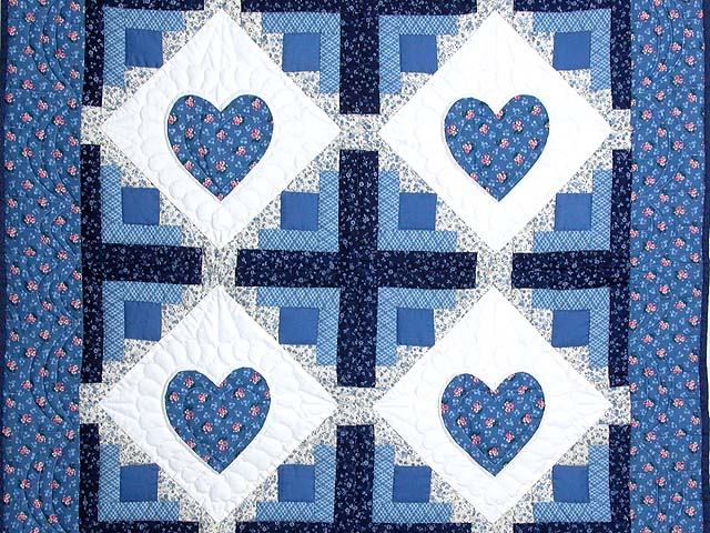 Blue Hearts in the Cabin Wall Hanging Photo 2