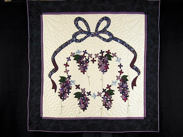 Purple and Navy Wisteria Applique Wall Hanging Photo 1