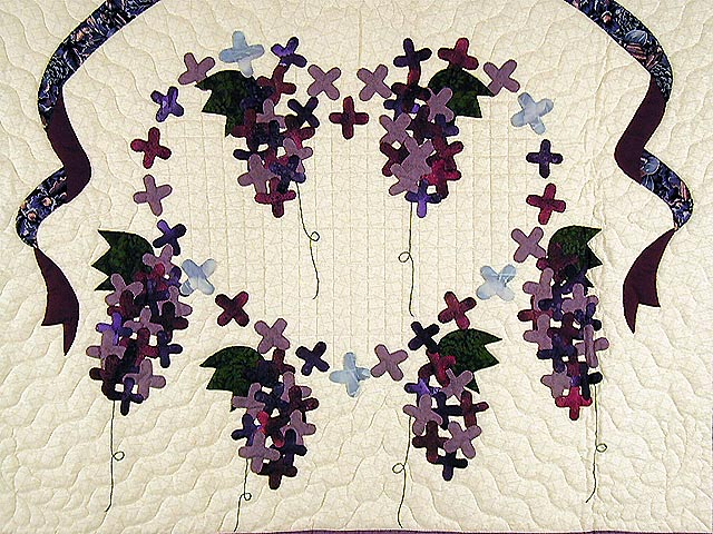 Purple and Navy Wisteria Applique Wall Hanging Photo 2