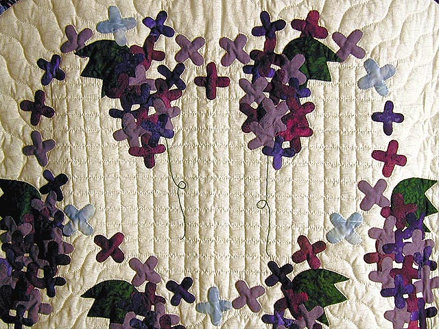 Purple and Navy Wisteria Applique Wall Hanging Photo 3