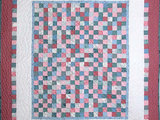 Cranberry Hit or Miss Throw Crib Quilt Photo 2