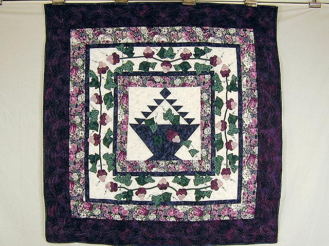 Purple and Plum Grape Basket Applique Wall Hanging Photo 1