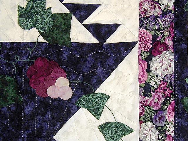 Purple and Plum Grape Basket Applique Wall Hanging Photo 3
