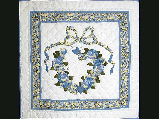 Blue and Yellow Country Love Applique Wall Hanging Photo 1