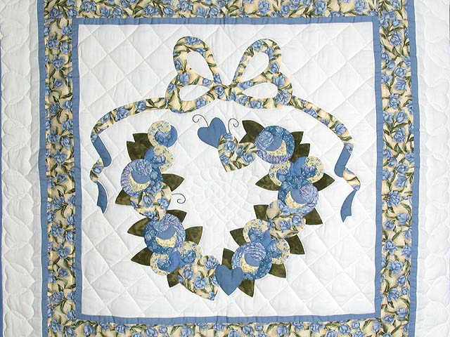 Blue and Yellow Country Love Applique Wall Hanging Photo 2