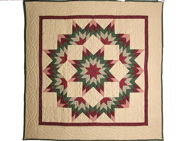 Burgundy Green and Tan Broken Star Wall Hanging Photo 1
