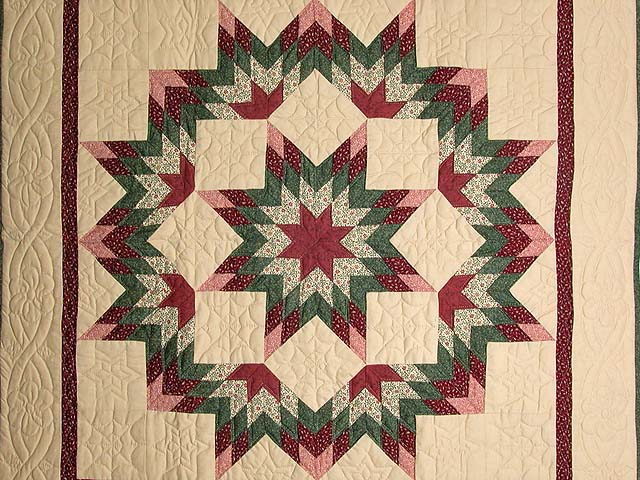 Burgundy Green and Tan Broken Star Wall Hanging Photo 2