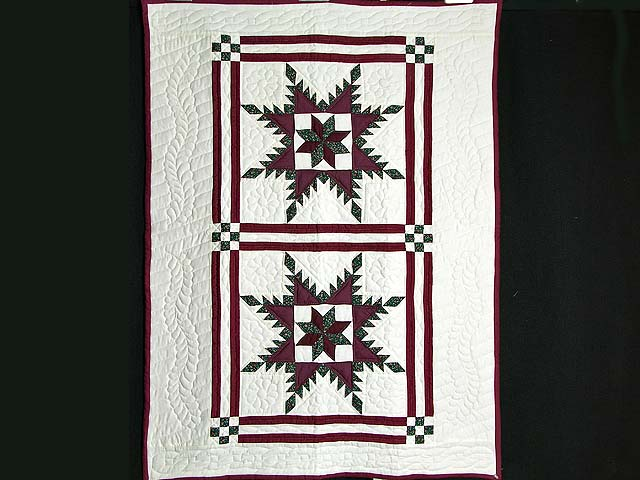Burgundy and Green Feathered Edge Star Crib Quilt Photo 1