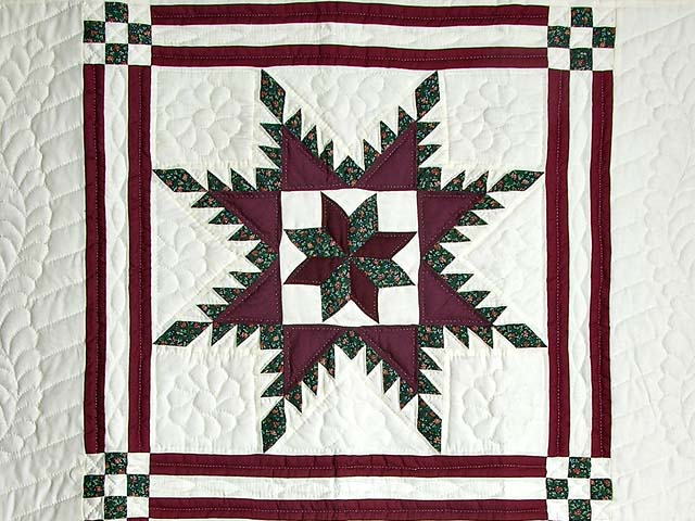 Burgundy and Green Feathered Edge Star Crib Quilt Photo 2