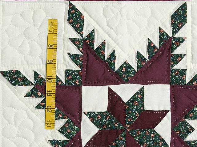 Burgundy and Green Feathered Edge Star Crib Quilt Photo 3