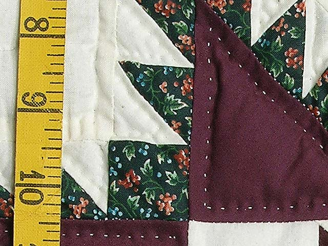 Burgundy and Green Feathered Edge Star Crib Quilt Photo 4