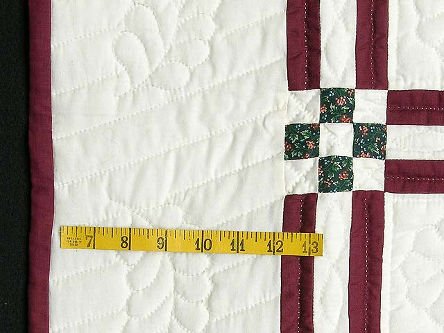 Burgundy and Green Feathered Edge Star Crib Quilt Photo 5