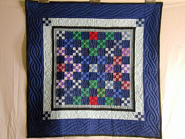 Navy and Multicolor Nine Patch Wall Hanging Photo 1