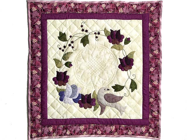 Plum Vines and Roses Applique Wall Hanging Photo 1
