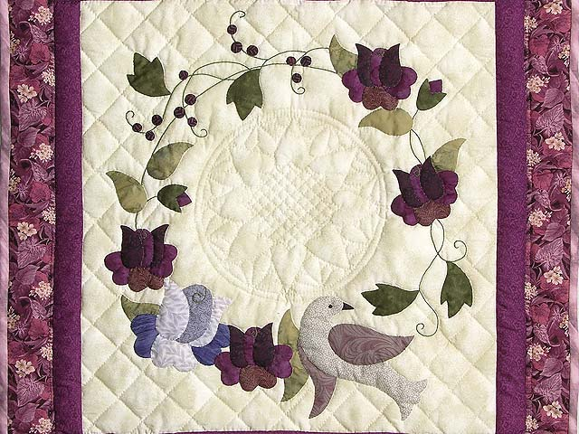 Plum Vines and Roses Applique Wall Hanging Photo 2