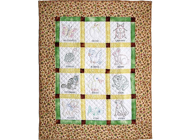 Embroidered Animals Crib Quilt Photo 1