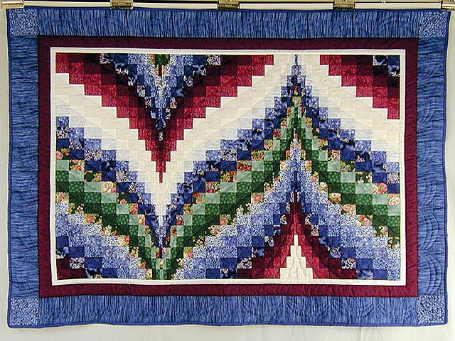 Navy Burgundy and Green Bargello Wall Hanging Photo 1