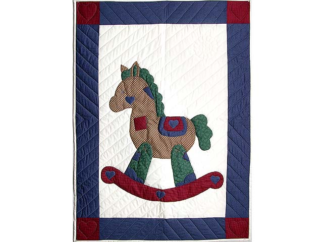 Blue and Red Plaid Rocking Horse Crib Quilt Photo 1