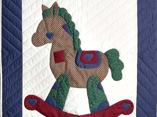 Blue and Red Plaid Rocking Horse Crib Quilt Photo 2