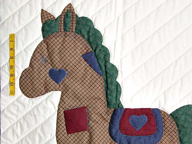 Blue and Red Plaid Rocking Horse Crib Quilt Photo 3