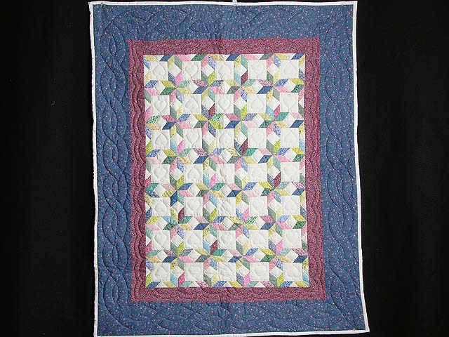 Pastel Blue and Cranberry Little Stars Crib Quilt Photo 1