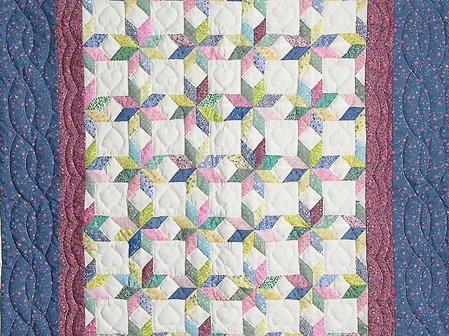 Pastel Blue and Cranberry Little Stars Crib Quilt Photo 2