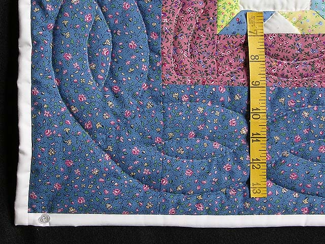 Pastel Blue and Cranberry Little Stars Crib Quilt Photo 5