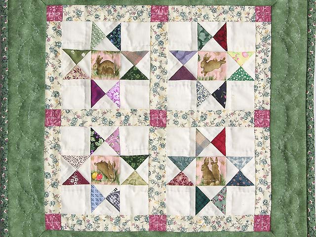 Miniature Green And Multi Ohio Stars Quilt Photo 2