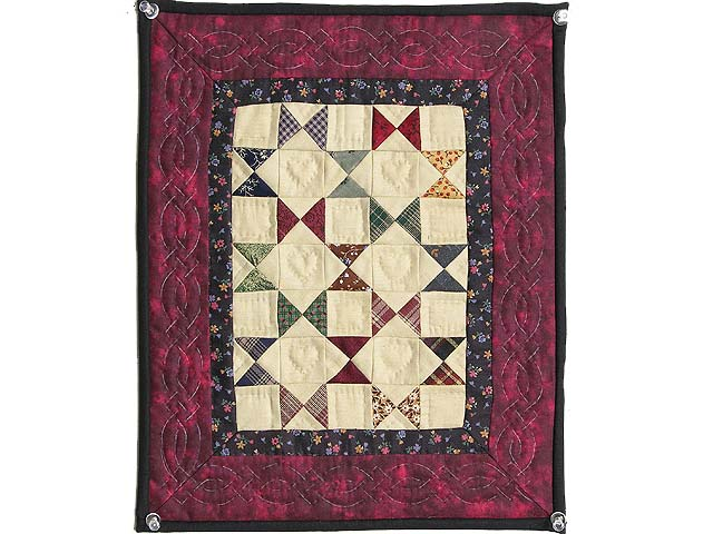 Miniature Burgundy  And Plaids Bow Tie Quilt Photo 1