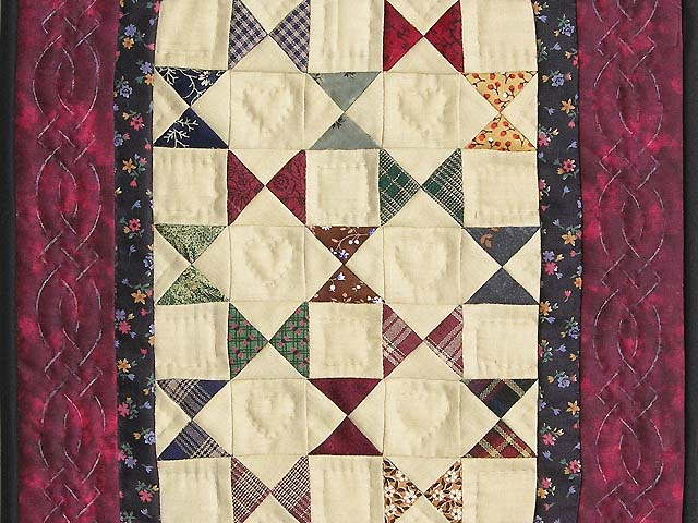 Miniature Burgundy  And Plaids Bow Tie Quilt Photo 2