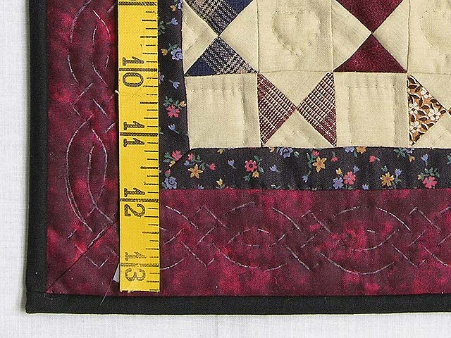 Miniature Burgundy  And Plaids Bow Tie Quilt Photo 3