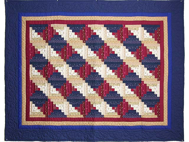 Navy and Burgundy Log Cabin Throw Photo 1