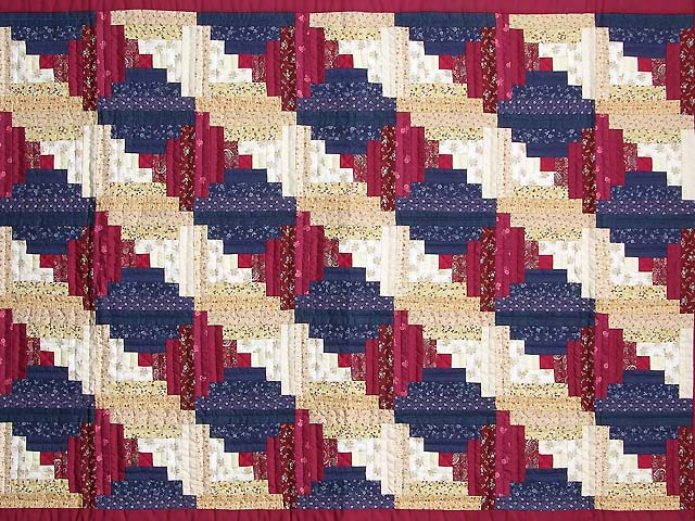 Navy and Burgundy Log Cabin Throw Photo 2