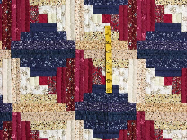 Navy and Burgundy Log Cabin Throw Photo 3