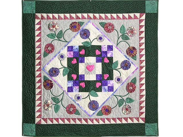 Green and Brick Patchwork Garden Wall Hanging Photo 1