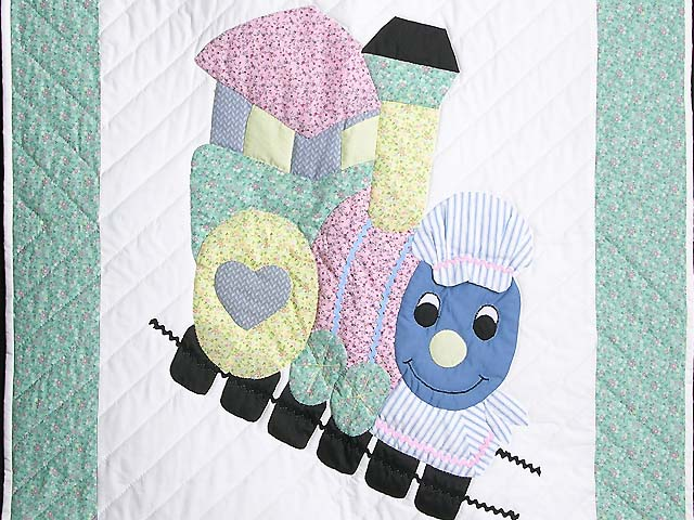 Pastel Green and Yellow Thomas Train Crib Quilt Photo 2