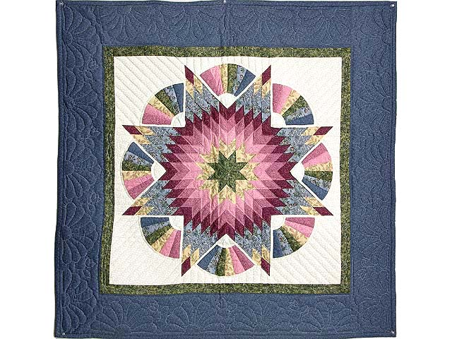 Blue Green and Rose Cathedral Star Wall Hanging Photo 1