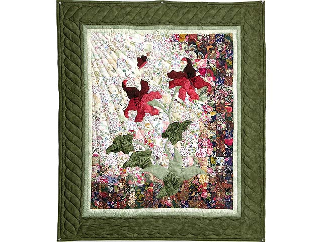 Moss Green and Coral Lily of the Valley Wall Hanging Photo 1
