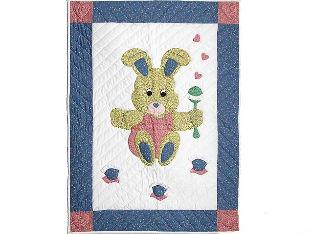 Pastel Blue and Pink Bunny Crib Quilt Photo 1