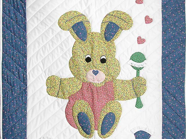 Pastel Blue and Pink Bunny Crib Quilt Photo 2