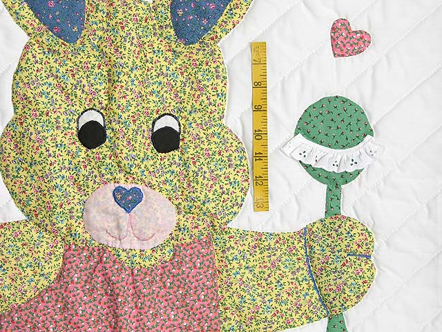 Pastel Blue and Pink Bunny Crib Quilt Photo 3