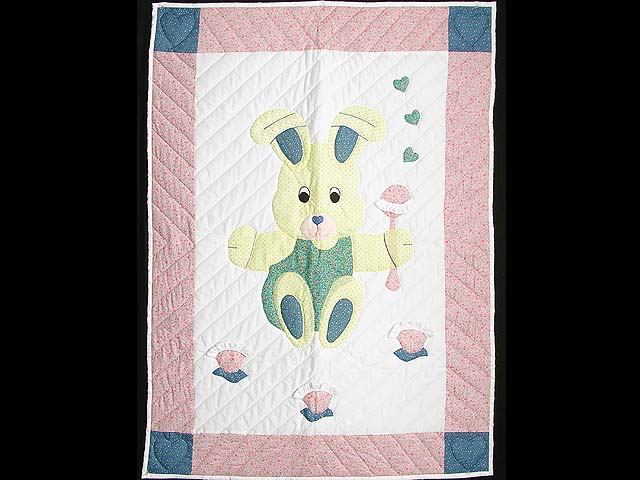 Pastel Pink and Blue Bunny Crib Quilt Photo 1