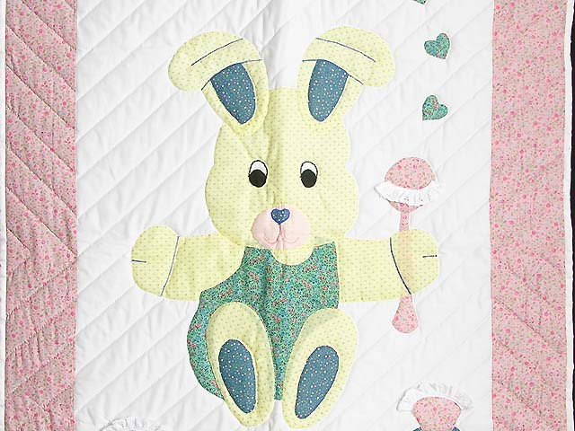 Pastel Pink and Blue Bunny Crib Quilt Photo 2